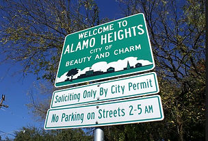 Alamo heights city limits sign