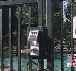 Pool gate with Trilogy electronic lock