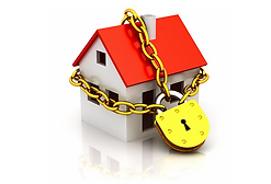 Chain and padlock over house