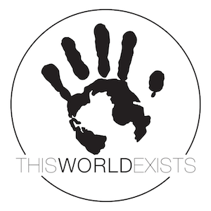 Small THISWORLDEXISTS Circle STICKER WHI