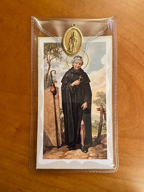 St Peregrine Prayer card with medal