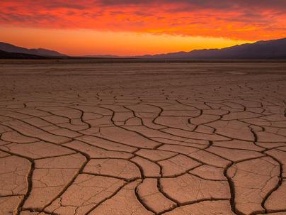 Mud cracks and sunset