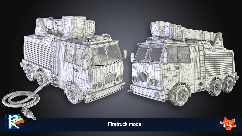3D wireframe model firetruck
