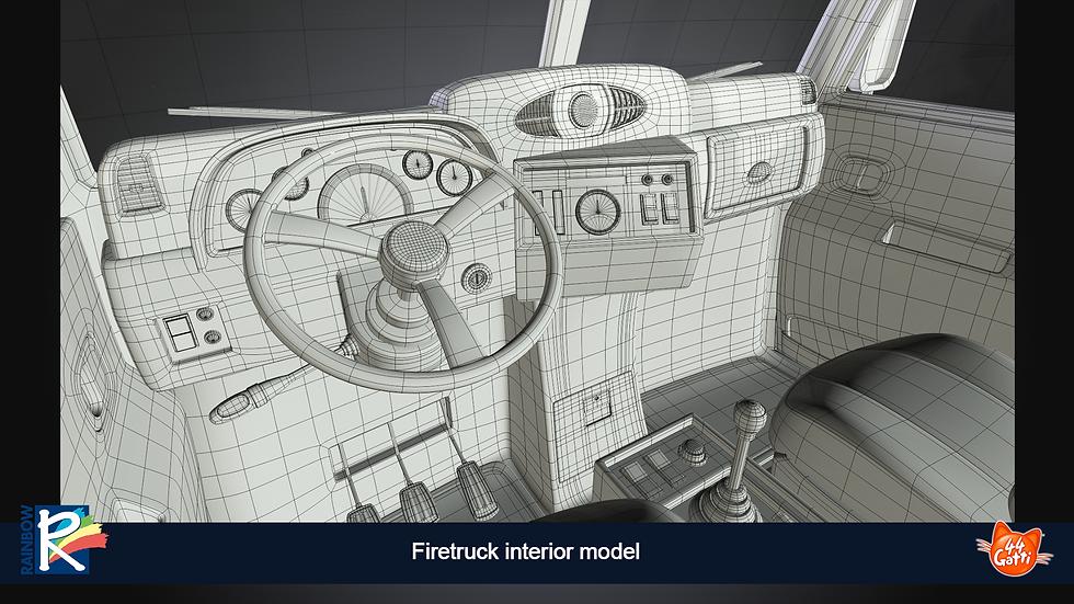 3D wireframe model interior fretruck
