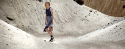 woman in dress on mountain