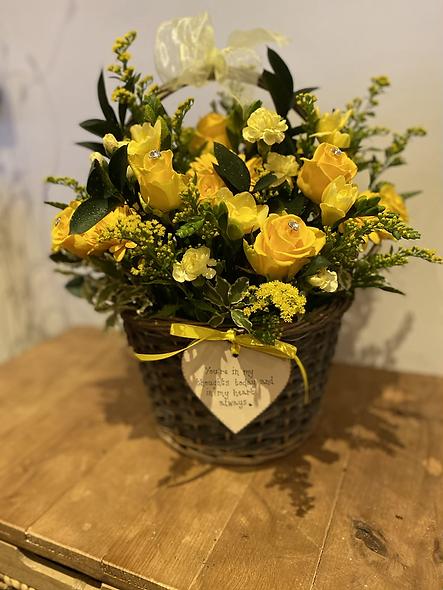 Yellow flower basket