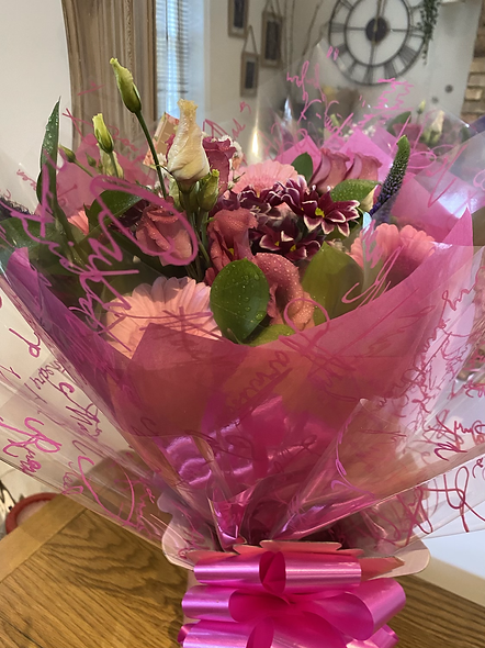 Pink boxed bouquet