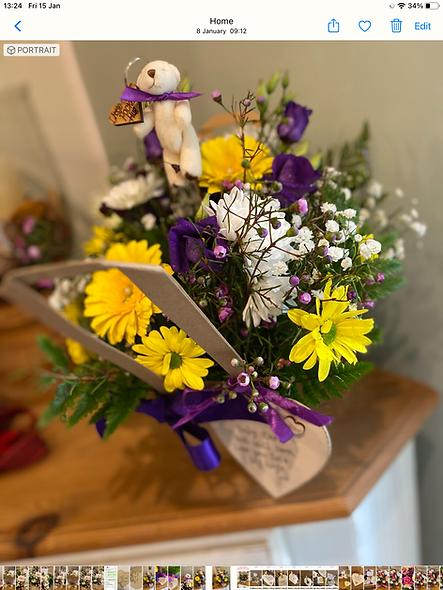 Flower Bag,Plaque & Teddy