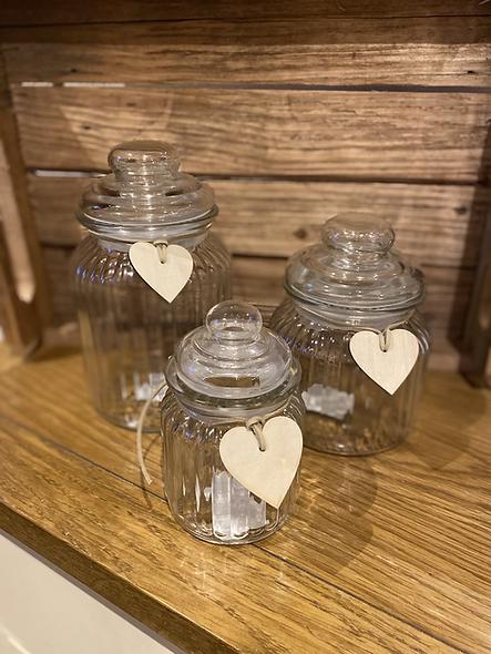 Set of lidded jars