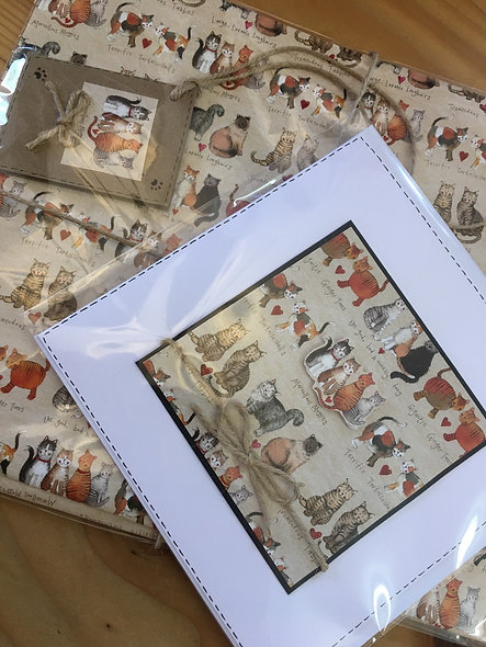 Cat card and wrapping paper set