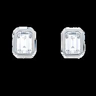 Diamant Ohrstecker Halo mit Smaragdschliff