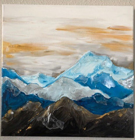 Mountainscape In Gold And Blue
