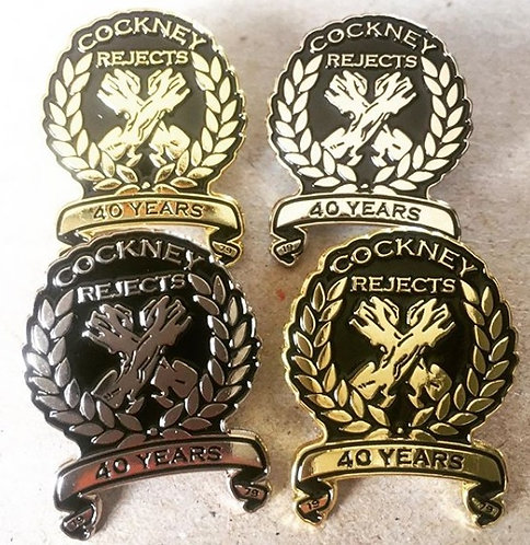 Gold & Silver 40 Years Metal Pin Badges