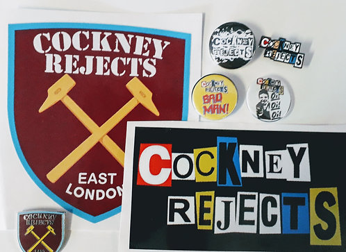 Cockney Rejects Badge and sticker set