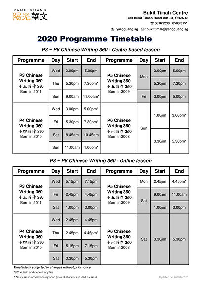 NEW 2020 Programme Timetable - BTC updat