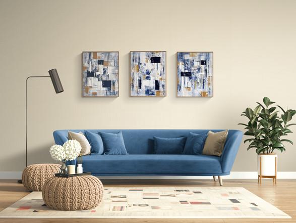 Denim Triptych on wall blue coutch.jpg