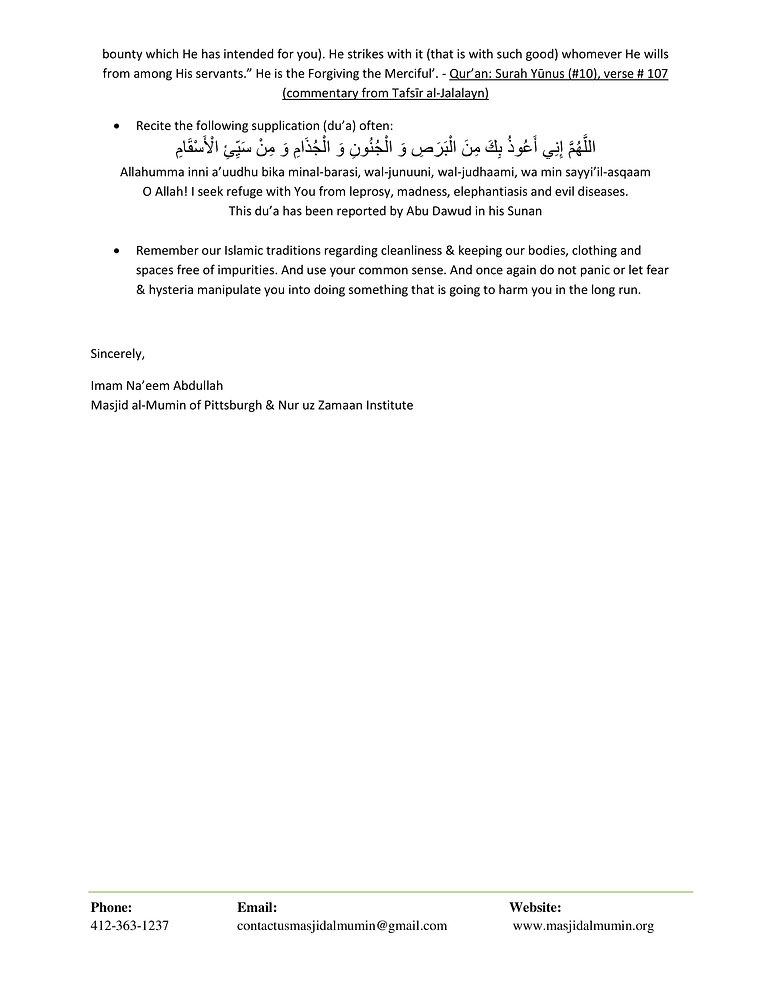 Statement from Masjid al Mumin regarding