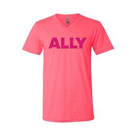 capital-city-pride-ally-neon-pink-v-neck