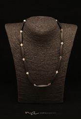 195 - Halskette Onyx + Silber + Saphir -