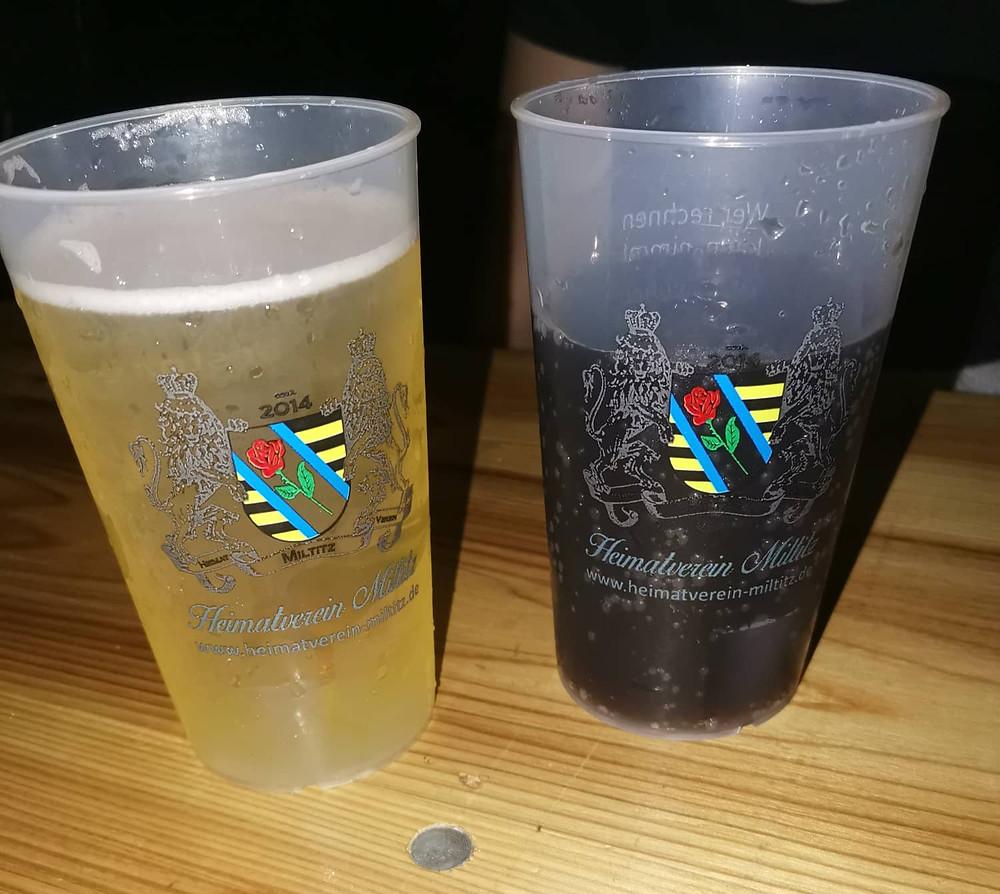 Auf dem Miltitzer Parkfest mit Cola und Bier.