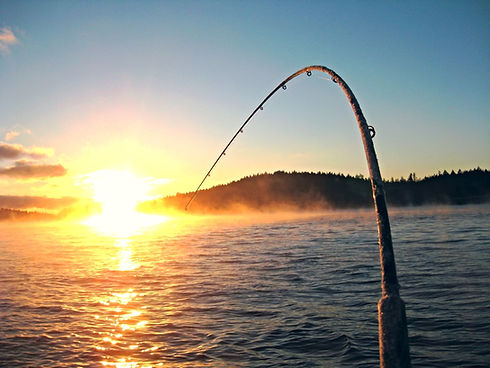 Fishing pole with line in the lake. Fishing pole looks like there's a catch