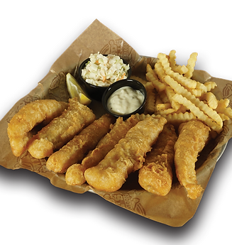 Our hand-battered fish with crinkle cut fries, coleslaw, tartar sauce and a lemon wedge.