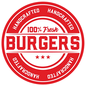 Label for our 100% Fresh Handcrafted Burgers
