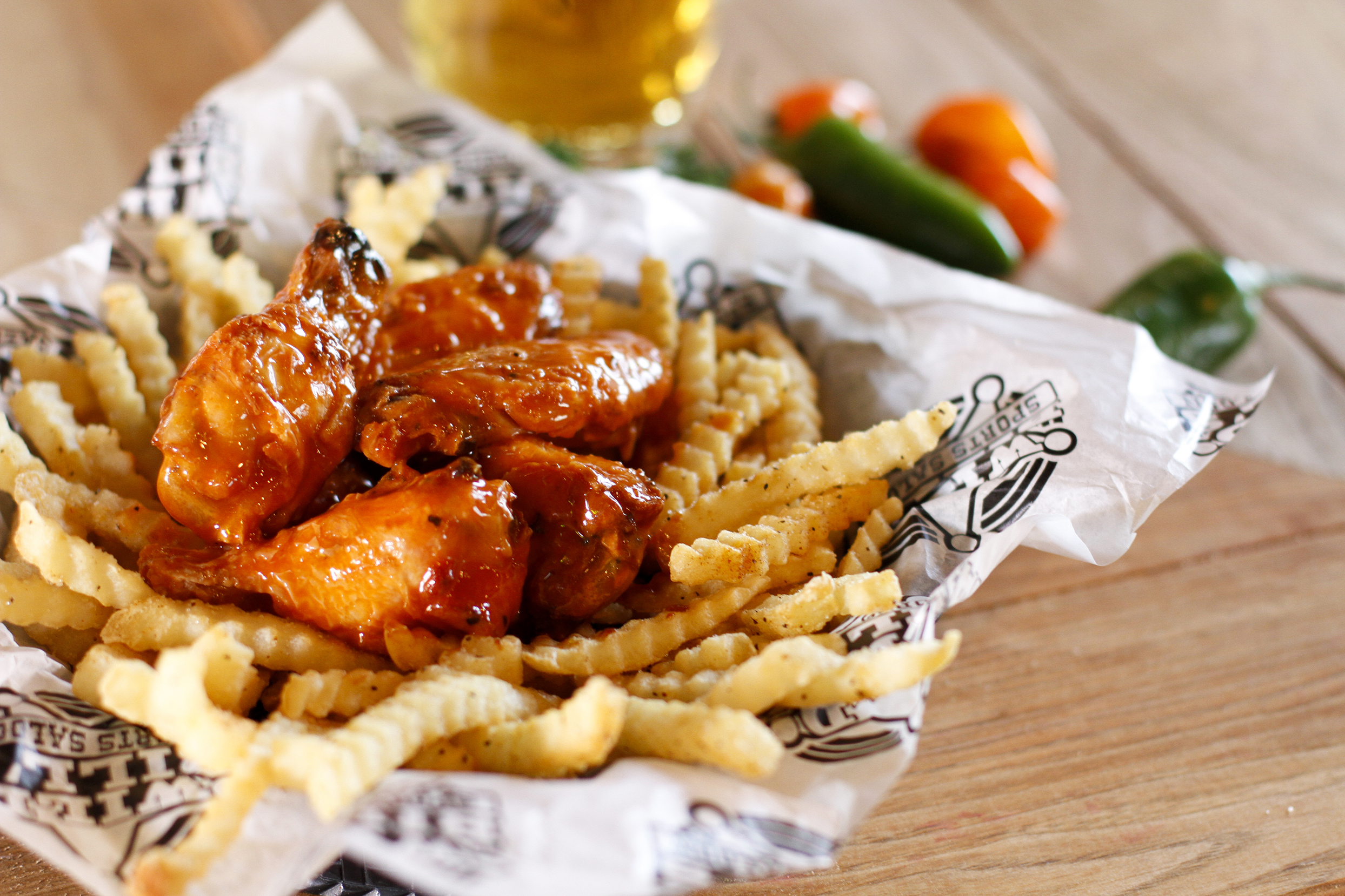 Original wings with fries