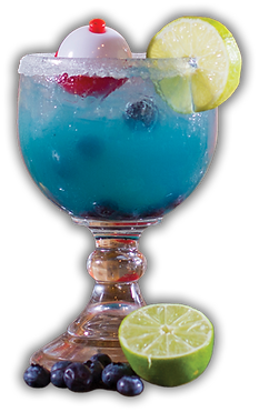 Blue Bobber Margarita with blueberries and limes beside it while a fishing bobber floats in the drink.