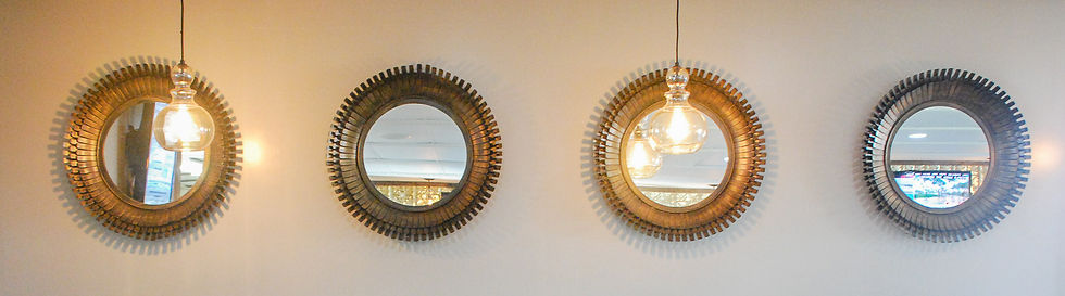 Mirrors along a wall in our hotel