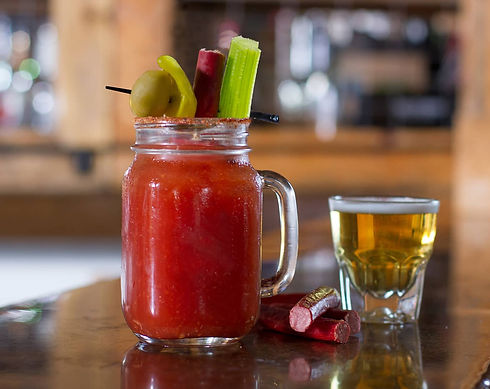 Our Bloody Mary with a chaser shot of beer