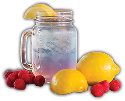 Our Kinky Cowgirl drink is pictured with raspberries and lemons beside it.