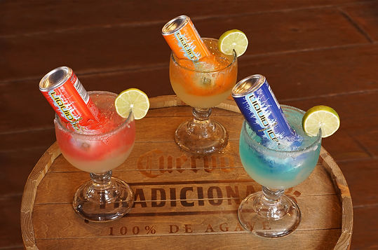 Double Barrel Margaritas pictured left to right: Cherry-Licious, Citrus Pop And Arctic Berry.