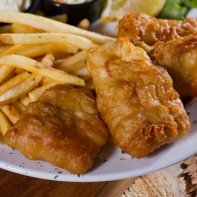Hand-Battered Cod Served With Skin-On Fries & Coleslaw