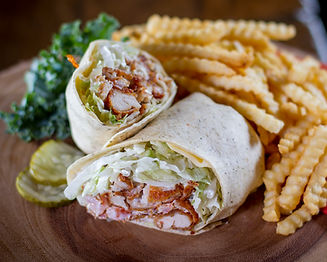 Chicken Bacon Ranch wrap with crinkle cut fries