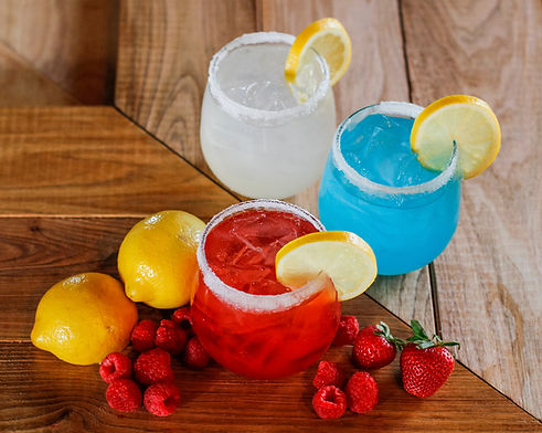 Homemade Lemonade Flavors: Lemonade, Blue Raspberry And Strawberry.