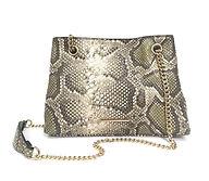 Embossed snake slide chain satchel