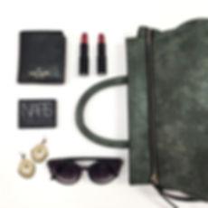 accessories, Katie Q, handbags, fashion, womens handbags, flat lay, satchel, zip along, makeup, earrings, sunglasses