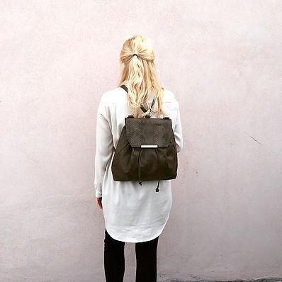 Faux snake skin drawstring backpack