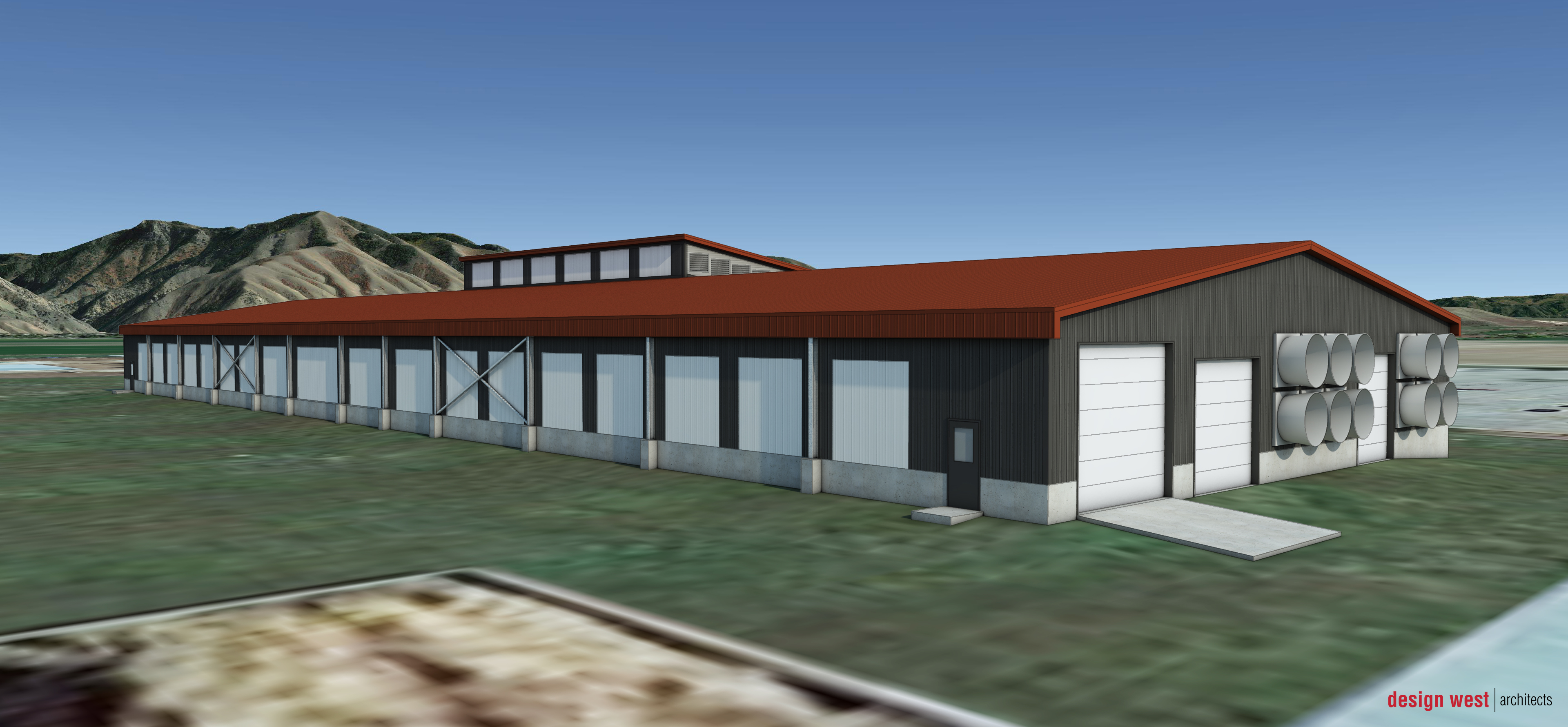 Conceptual Rendering of Caine Dairy Automated Milking Facility - Utah State University - Wellsville,
