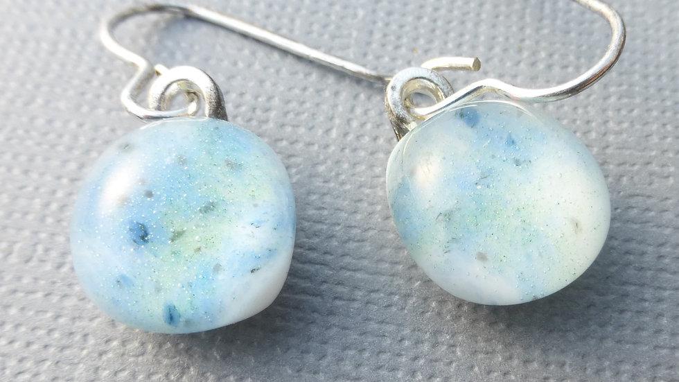 sea spray - fused glass earrings