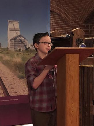 Hunter Nichols - 2018 Heritage Fair award winner from Moose Jaw
