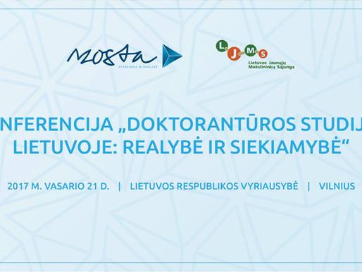 """MOSTA ir LJMS konferencija LR Vyriausybėje """"Doktorantūros studijos Lietuvoje: realybė ir siekiamybė"""""""
