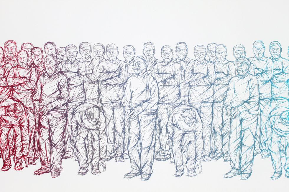 Men Playing Bocce - detail
