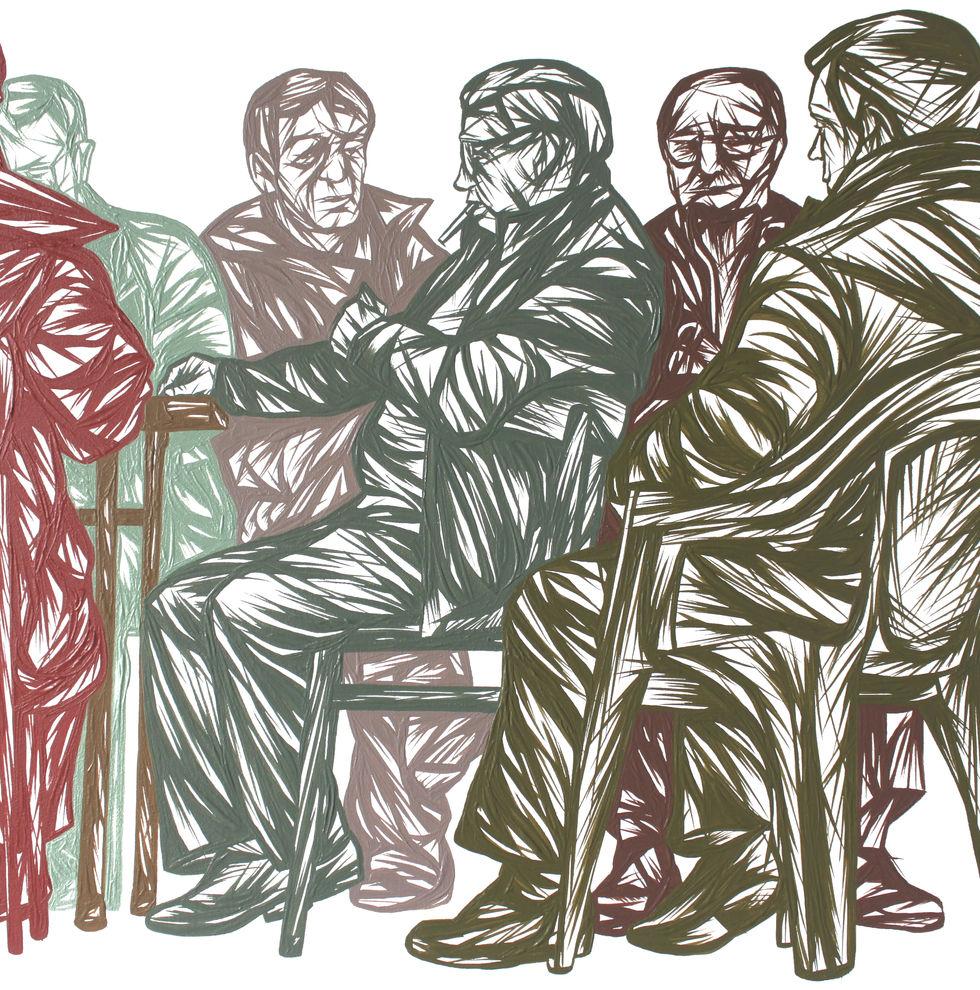 Men Playing Cards - detail
