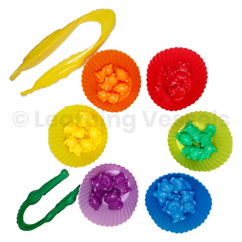 colourful bear counters and tweezers