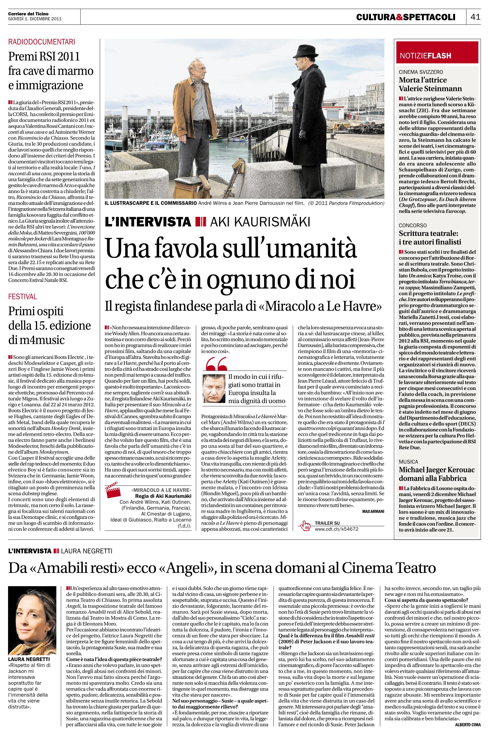 Corriere del Ticino 1 Dicembre 2011