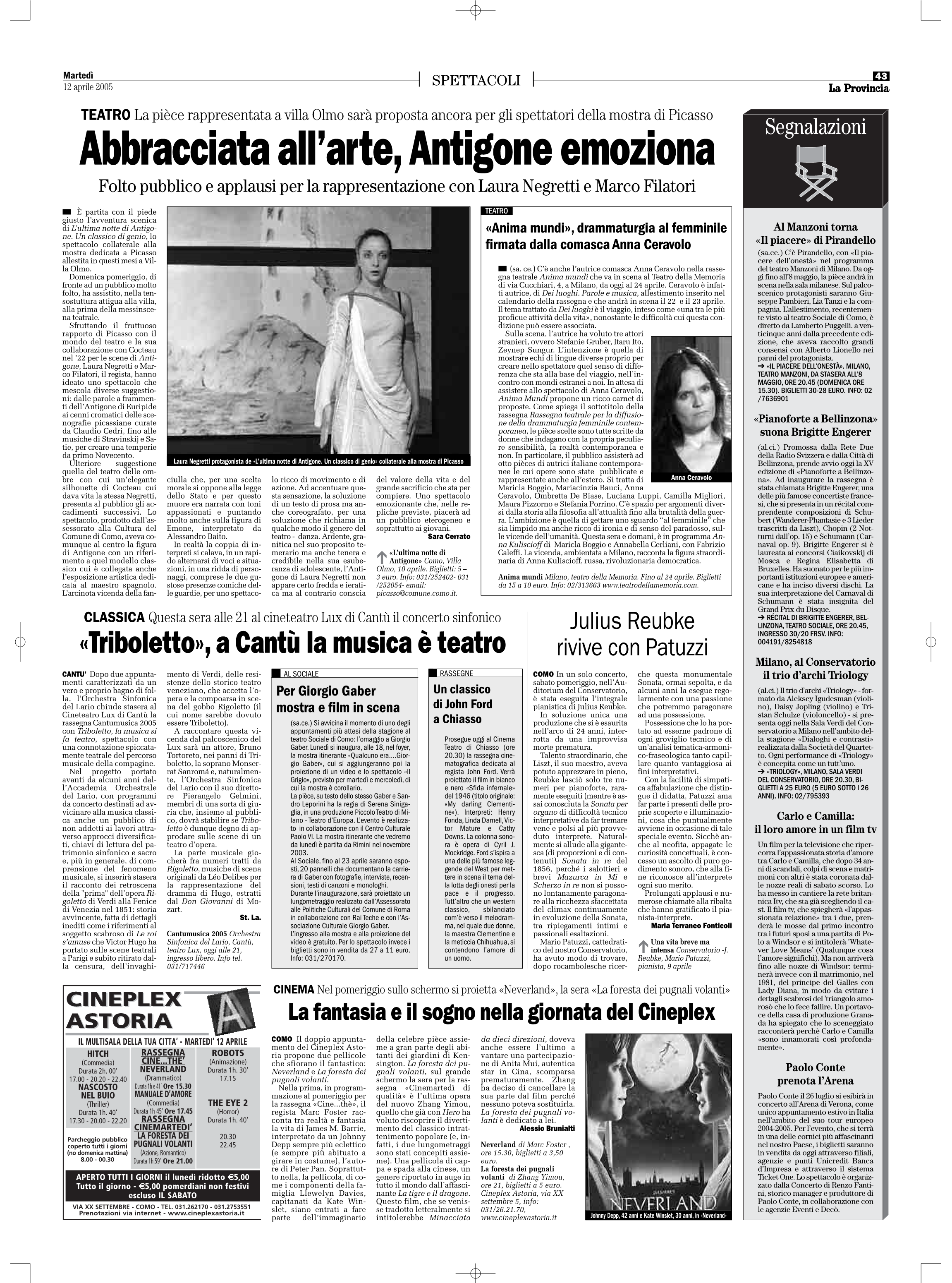 RECENSIONE La Provincia 12 aprile 2005
