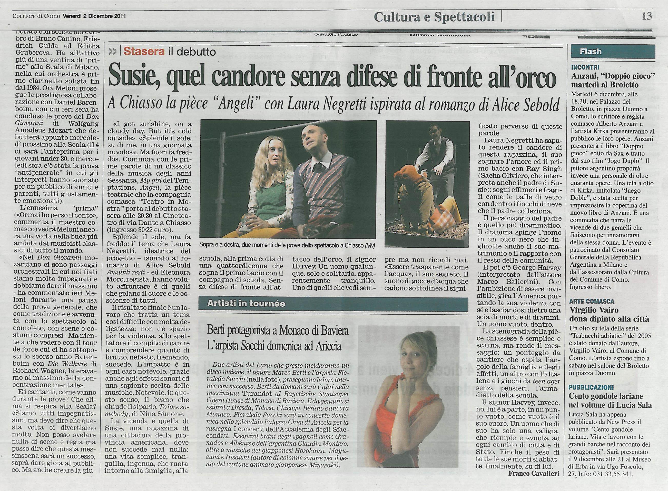 RECENSIONE Corriere Como 2 Dicembre 2011