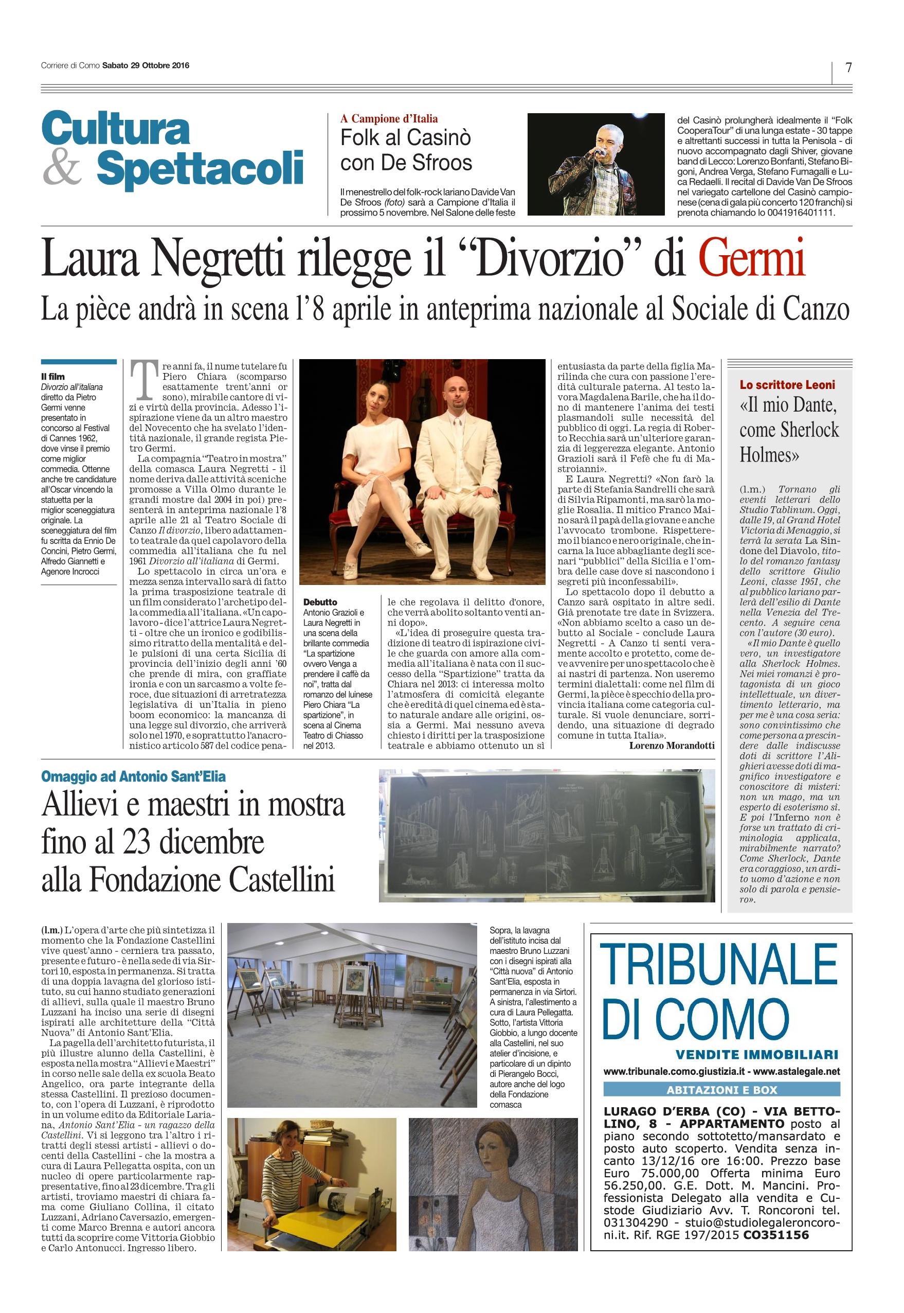 Corriere di Como - 29 Ottobre 2016
